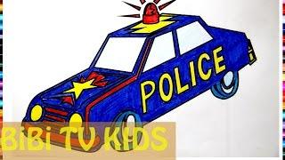 Tô màu xe cảnh sat | coloring police | Xe cảnh sát nhiều màu sắc | Bé tập tô | 175