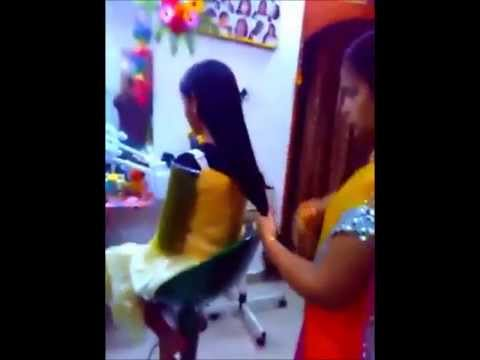 Indian College Girl Hair Cut video