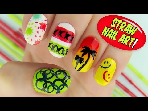 Straw Nail Art! 6 Creative Nail Art Designs Using A Straw video