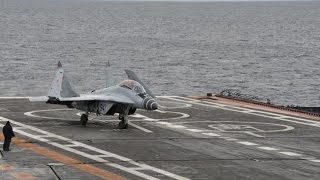 Mig 29 takeoff from aircraft carrier, Russia. Su-33