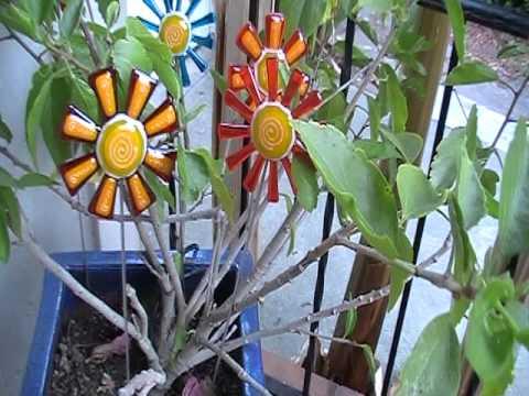 Flowers Fused Glass Garden Art Youtube