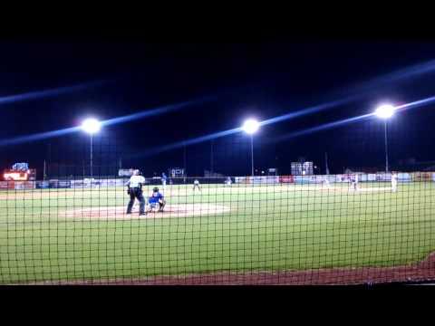 Catcher Hunter Ashburn throws out runner. Whiteville Legion baseball vs Post 10 Wilmington NC