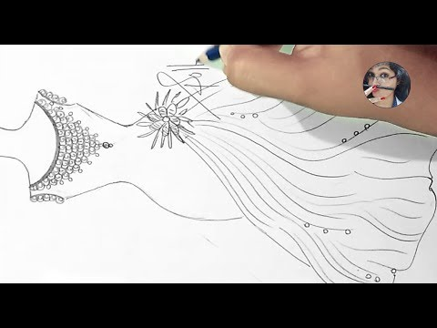how to draw a party wear dress sketches |  S Pollen
