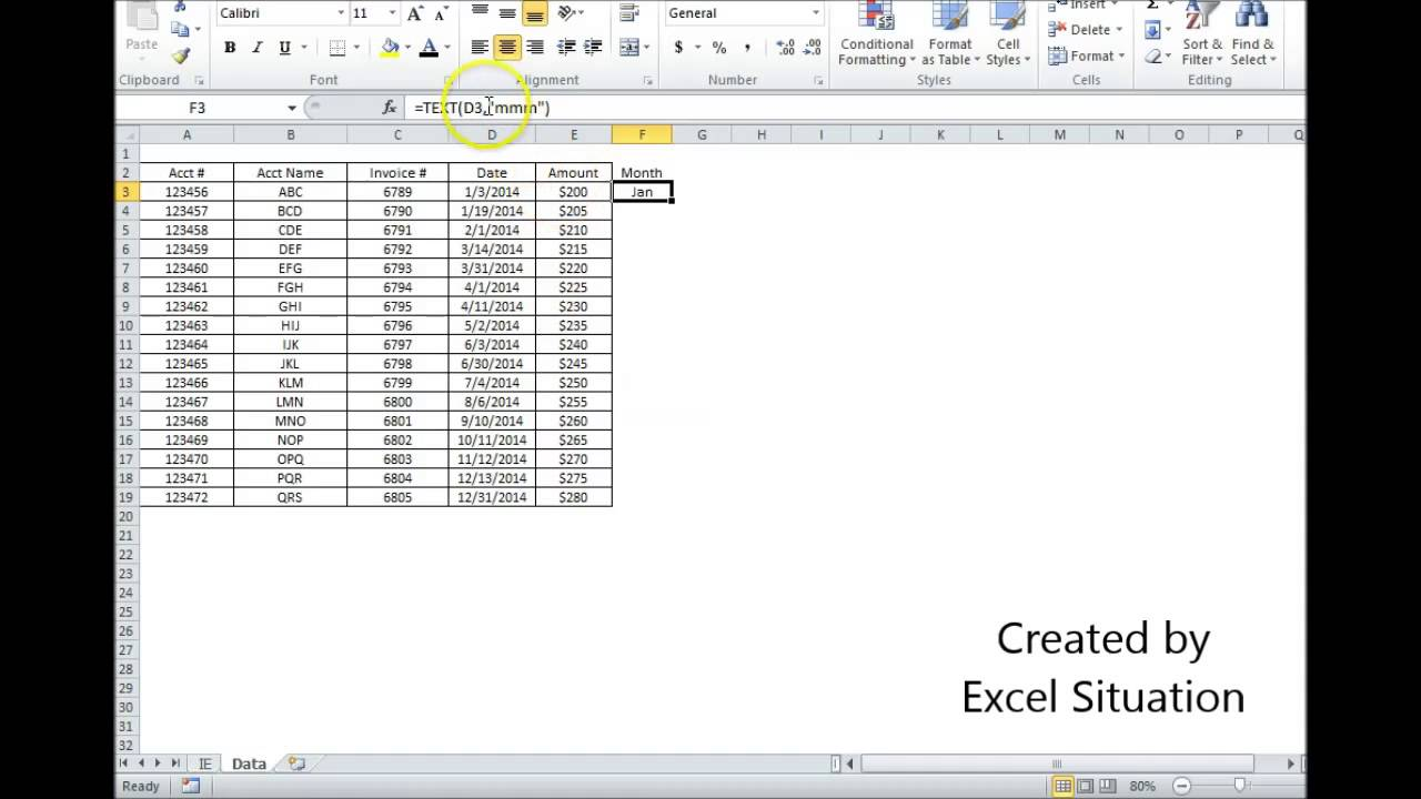 Excel Date Converted Into 3 Letter Month Abbreviation