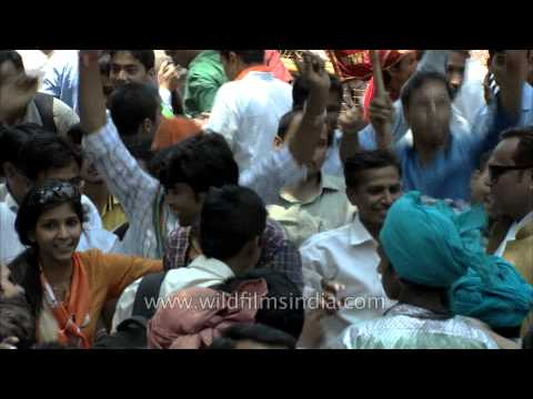 Supporters of BJP celebrating massive victory in Lok Sabha Election