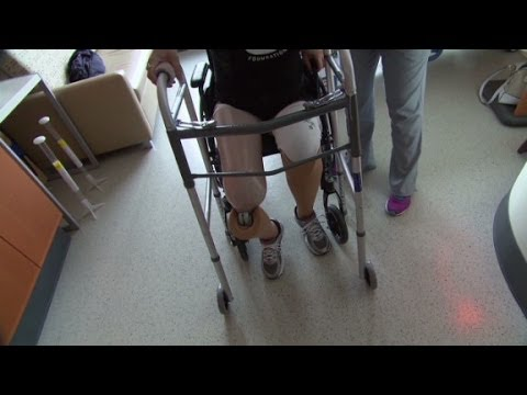 Boston Marathon bombing victim learns to walk again