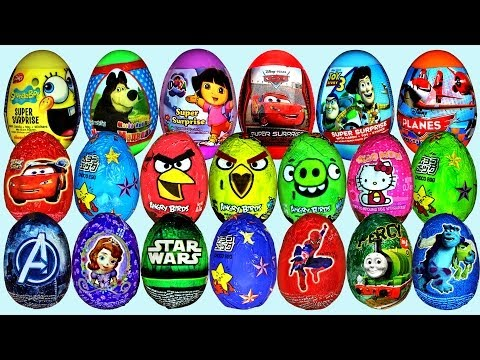 36 Surprise Eggs Disney Cars Sofia Dora The Explorer Toy Story Kinder Surprise video