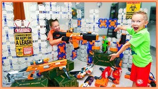 NERF Bunker Battle Royale! Ultimate NERF Battle Forts from BLASTER BOARDS vs Nerf Arsenal