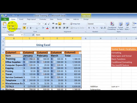 Using Excel 2010 - Full Tutorial on the Various Functions