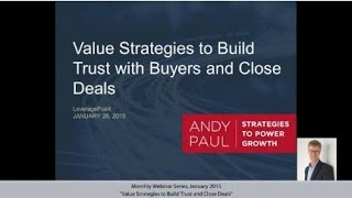 video The salesperson who is first to talk value with customers will build trust with today's enterprise B2B buyers and best differentiate themselves from competitors. The results: shorter sales...