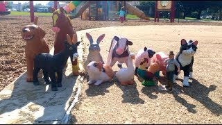 Playing Hide in Seek With Toy FARM Animals on the Playground/ Learn Name and  Sounds.