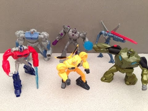 MCDONALDS TRANSFORMERS PRIME HAPPY MEAL TOYS - 2013 FULL SET REVIEW