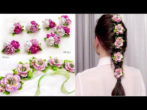 Цветы на ленте в косу своими руками 79