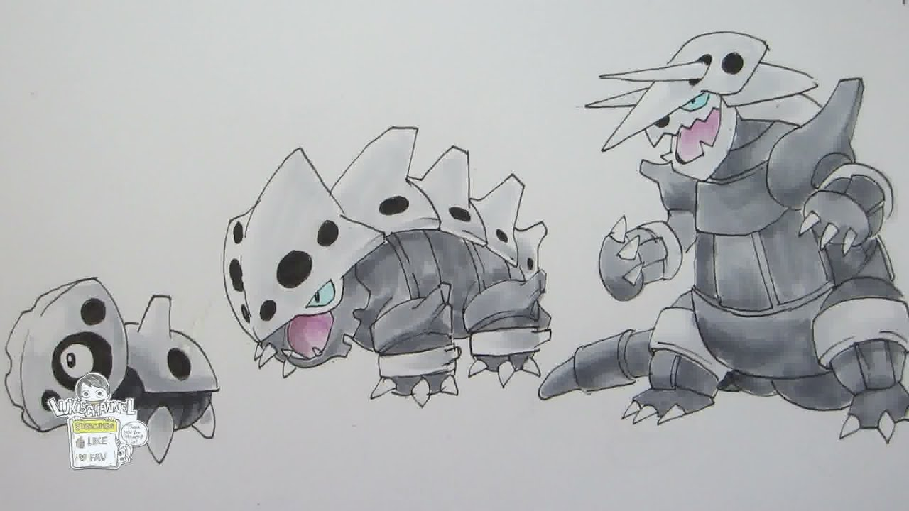 How to draw Pokemon: No. 304 Aron, No. 305 Lairon, No. 306 ... Lairon Evolution