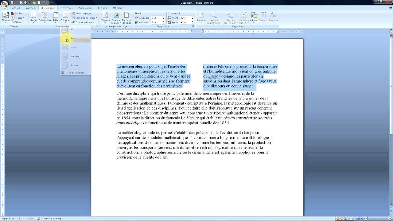 word 2007 comment mettre en colonne un texte