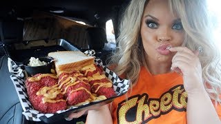 TRYING CHEESY HOT CHEETOS FRIED CHICKEN + CHEESY TOTS!