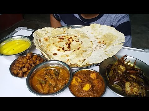 Eating Crab curry and Paneer curry with Big ghee roti