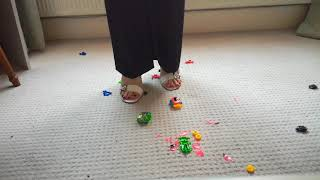 Crushing and destroying toy cars and motorbikes in my white high heel sandals