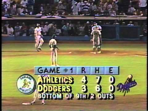 Kirk Gibson's historic home run in the bottom of the 9th inning- game one of the 1988 World Series between the Oakland Athletics and the Los Angeles Dodgers....