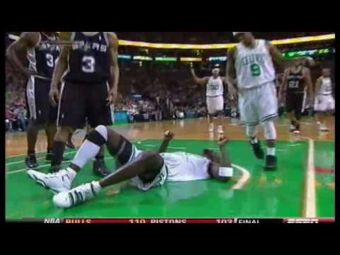 Manu Ginobili blocks kevin Garnett [HD] Video