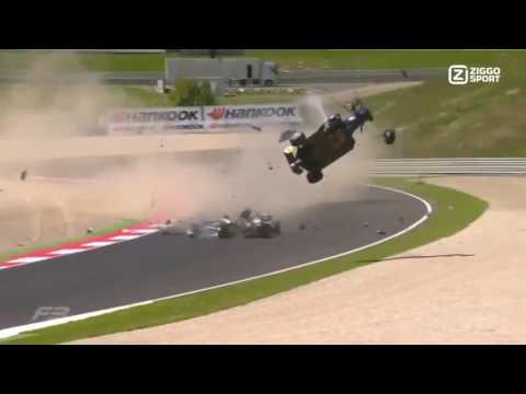 Zhi Cong Li, Ryan Tveter and Pedro Piquet accident Fia F3 Red Bull Ring slow motion.