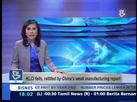 23-05-2103-KLCI Falls, Rattled by China's Weak Manufacturing Report