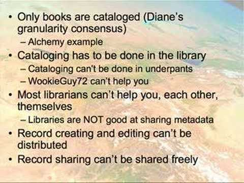 Part TWO of my 18-minute screencast on the &quot;future of cataloging&quot; for a panel at the American Library Association&#039;s 2008 conference. See http://www.libraryth...