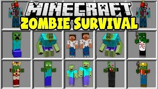Minecraft ZOMBIE SURVIVAL MOD | TRY TO SURVIVE IN A MINECRAFT ZOMBIE APOCALYPSE!!