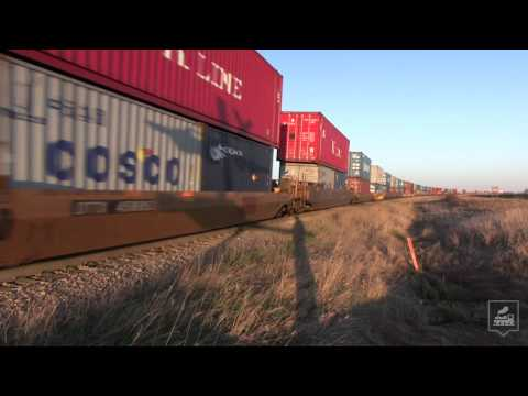 Intermodal Train Screams Through Tofield, AB