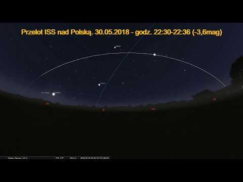 30.05.2018 Przelot stacji ISS nad Polską. (Symulacja)