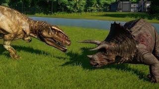 Jurassic World Evolution - Triceratops & Giganotosaurus Breakout & Fight! (1080p 60FPS)