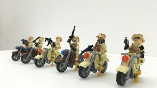 Minifig soldiers on motorbike brick toys