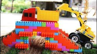 รถก่อสร้างทำสะพานเลโก้ รถเครน รถแม็คโค รถดั้ม รถตักดิน รถบดถนน