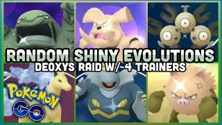 Evolving random shiny Pokemon in Pokemon GO | Deoxys Defense 4 Trainer takedown