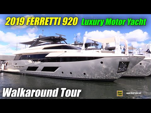 2019 Ferretti 920 Luxury Yacht - Deck and Interior Walkaround - 2018 Fort Lauderdale Boat Show