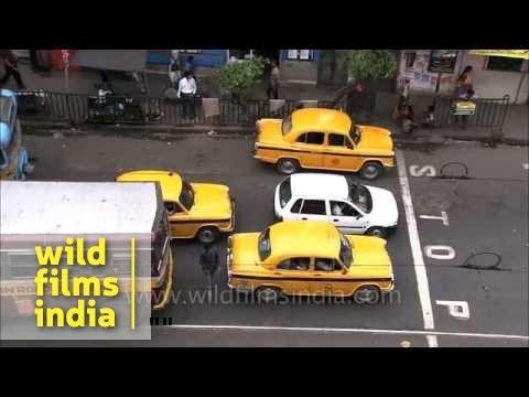 Kolkata's iconic yellow Hindustan Ambassador taxi-cabs