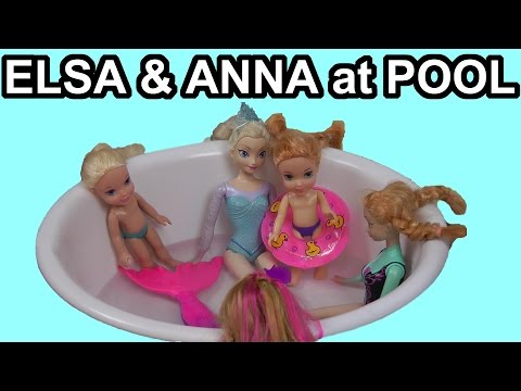 Elsa, Anna, their children and Olaf go to the pool with Barbie and the Secret Door characters