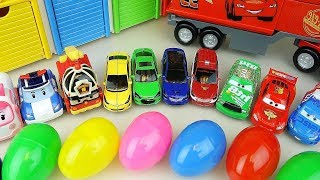 Cars and Robocar Poli car toys with surprise eggs play