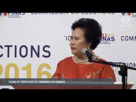 Miriam Defensor Santiago files certificate of candidacy for president