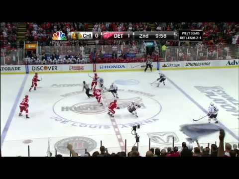 Jakub Kindl slapshot goal 1-0 May 23 2013 Chicago Blackhawks vs Detroit Red Wings NHL Hockey.