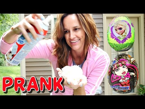 PRANK! New Frozen Hello Kitty Monster High Dora The Explorer Toy Story Surprise Eggs DCTC