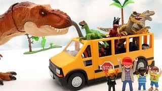 Dinosaur School Bus! Dinosaurs Toys For Kids - Learn Dinosaur Rex 공룡 스쿨버스 쥬라기월드