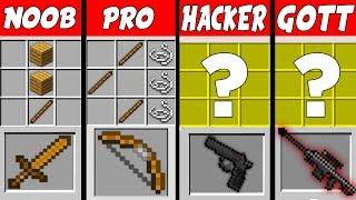 Minecraft NOOB vs. PRO vs. HACKER vs. GOTT: SUPER WAFFEN BASIS challenge in Minecraft