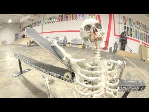 Skeleton Attempts To Skateboard!