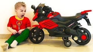 Baby Steals bike and drive ride on POWER WHEEL Kids Red Bike paw patrol