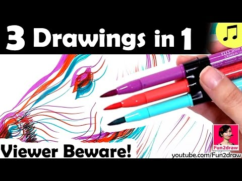 New Fun Art Challenge | 3 Drawing In 1 New Art