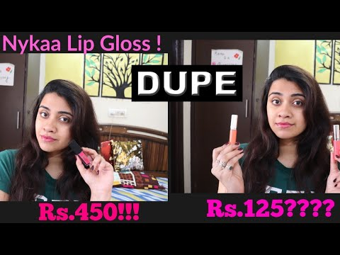 Nykaa Lip Gloss Review! Nykaa  vs Miss claire Pearly gloss This Dupe has the Exact Texture as Nykaa