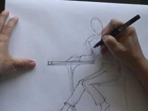 Hombre sentado 2 3 9 youtube for Sillas para dibujar facil