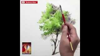 how to draw a tree by Watercolour