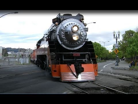 Southern Pacific 4449 leaving National Train Day in Portland, Oregon 5/7/11 The World's Most Famous Steam Locomotive, Southern Pacific steam locomotive no. 4...